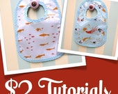 Two Dollar Tutorial and Pattern (PDF)- Reversible, Vinylized Bib- 2 sizes included
