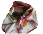 RESERVED  for Amber  Alice Inspired Pure Silk Scarf  Abstract Floral Hand dyed and Hand painted 35 x 35 ins. Free Shipping - MADE to ORDER