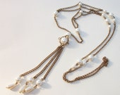 Art Deco Pearl Necklace Lusciously Long -  Ideal Gift For Mom