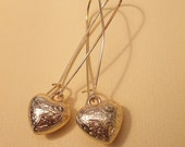Gold Heart Earrings - Etched heart earrings
