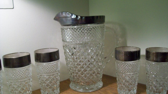 Sale Vintage Pitcher and Goblets Diamond Pattern with Silver Trim
