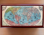Wood Cigar Box w Antique World Map - Gift for men