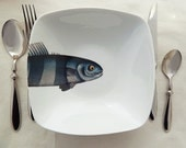 fishy fish square bowl  - bleu marin - MilestoneDecalArt