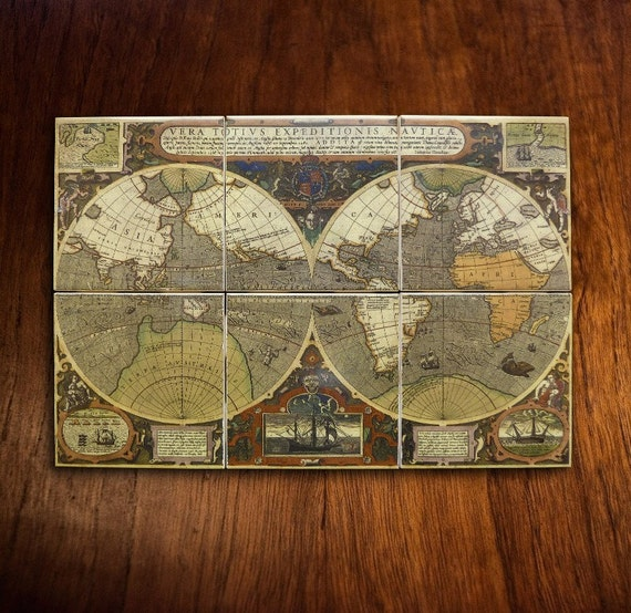 Items similar to antique world map mural ca 1595 on etsy for Antique map mural