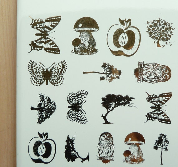 S A L E - 24K Gold Decals for Ceramic, Glass or Enamel  - butterflies, owls, trees, mushrooms and apples