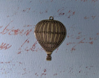 French Inspired Hot Air Balloon Pendant Charm    Antique brass    Item 1729