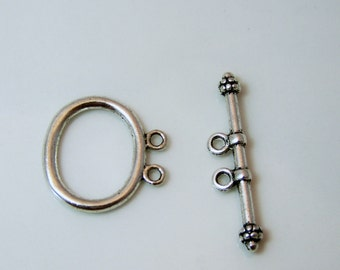 Two Strand Silver Plated Toggle Clasp  Item 1696