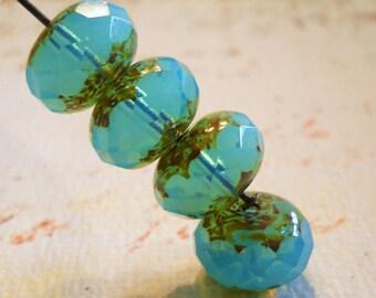 Transparent opal blue Picasso Czech rondelles large 14mm  4 beads Item 2029