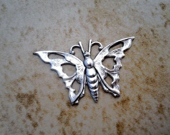 Butterfly charm  Matte silver  2 charms  35mm  USA made  Item 1206