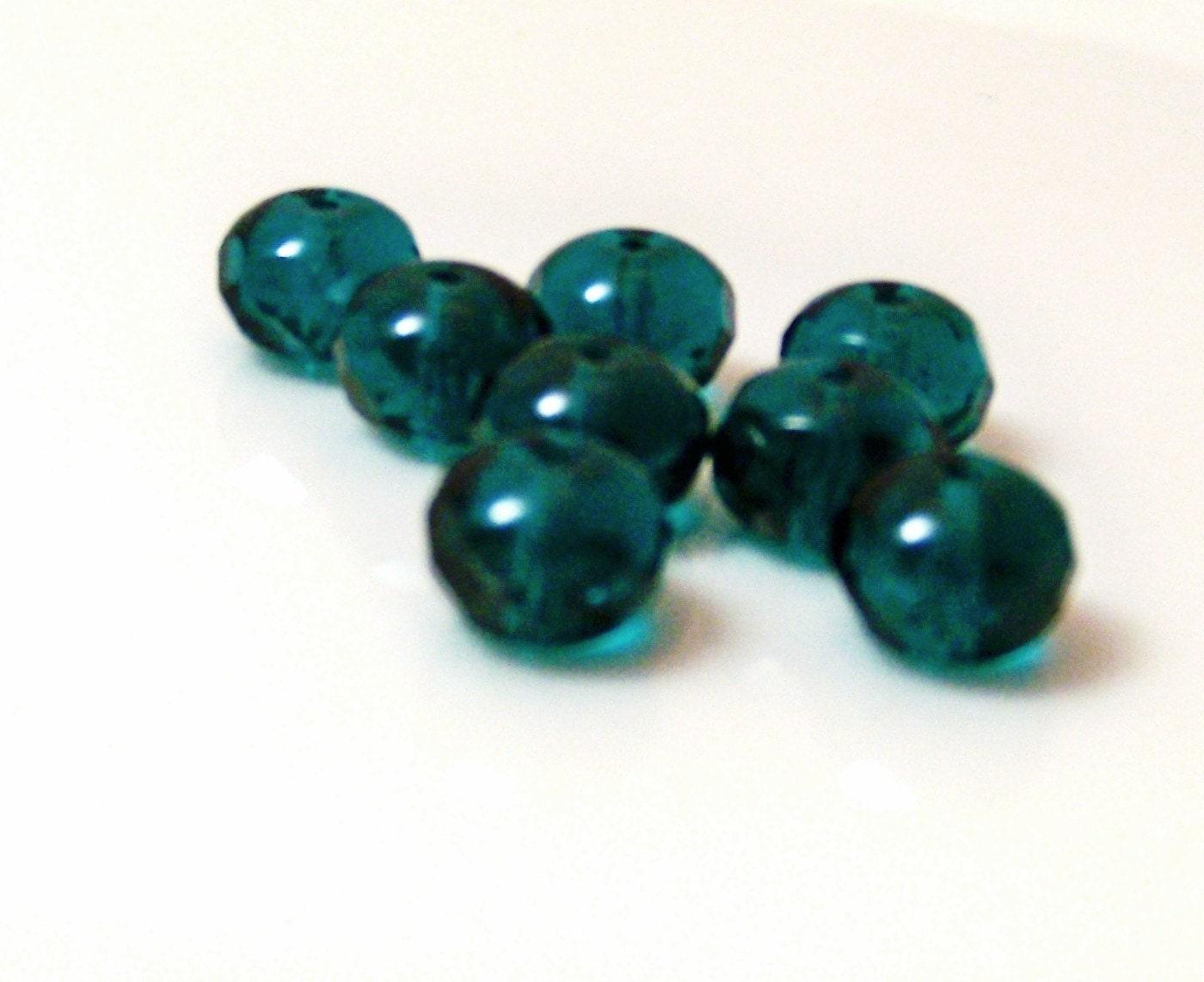 teal gemstone cut donut 9mm glass by