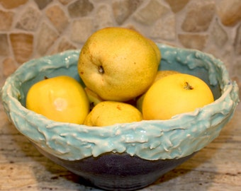 Ceramic Serving Bowl. SALE. OCEAN WAVE. Nature Inspired. Large Salad Bowl. Navy Blue Bowl. Turquoise Bowl. Zen Ceramics. Handmade Pottery.