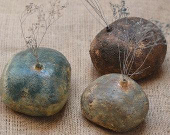 SALE. Beach Stone Ceramic Vases. Zen Stone Vase. Nature Inspired Vase. Hand Built Ceramics. Zen Ceramics.