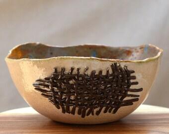 Ceramic Salad Bowl. Nature Inspired BURLAP Ceramic Bowl.  Cream - Brown - Moss Bowl. Earthy Country Chic Ceramic Bowl. Hand Built Pottery.