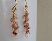 Rose Quartz and Pink Tourmaline Gemstone Cluster Earrings in Vermeil