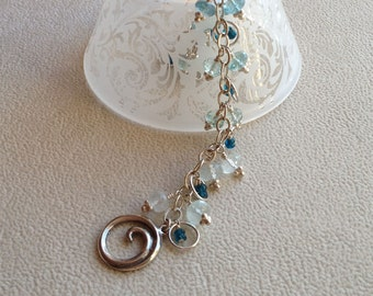 RARE Blue Aquamarine Gemstone Bracelet with Apatite Accents in Sterling Silver