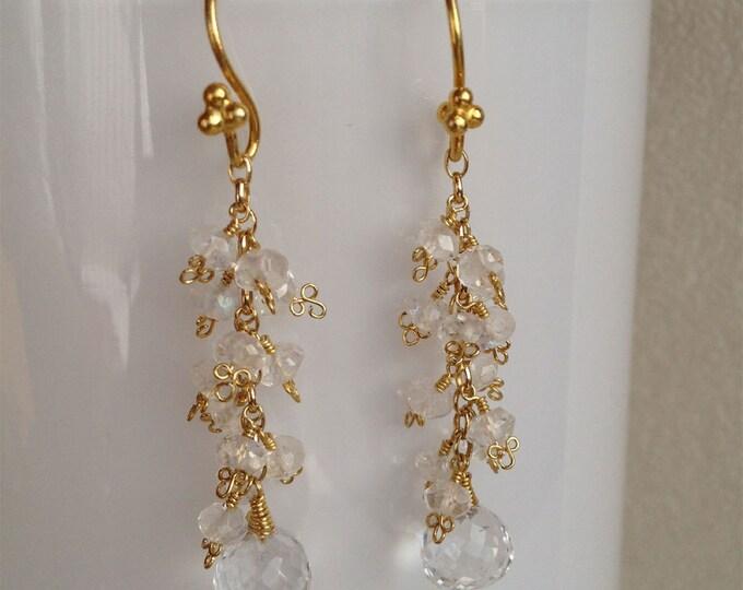 Rainbow Moonstone and Crystal Quartz Gemstone Cluster Earrings in Vermeil