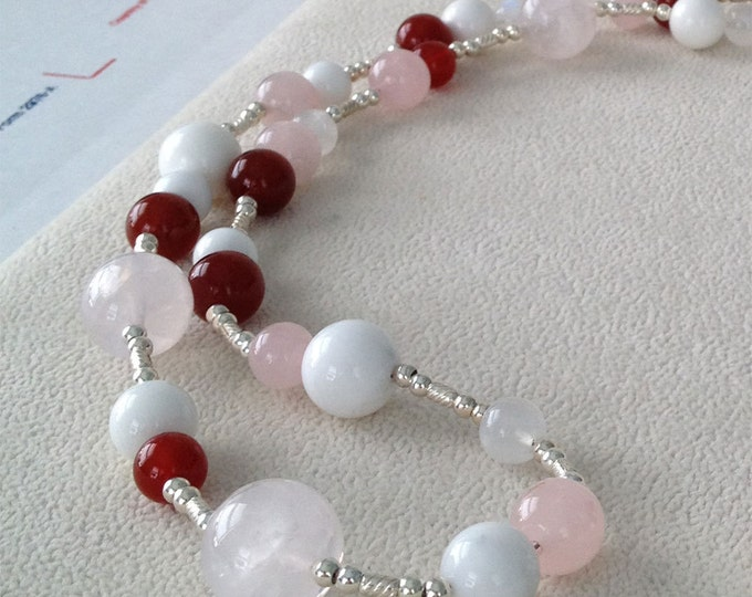 Long Semiprecious Pink and Red Gemstone Necklace in Sterling Silver with Rose Quartz, Carnelian, Agate and Moonstone