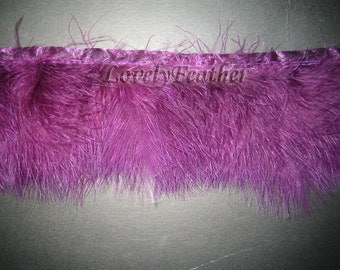 Marabou Feather fringe of purple color 2 yards trim