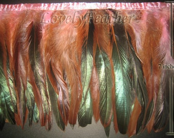 Coque feather fringe of light pink irridescent colour 2 yards trim
