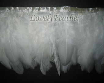 Coque feather fringe of ivory color 1 feet trim