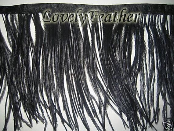 Ostrich feather fringe of black color 2 yards trim