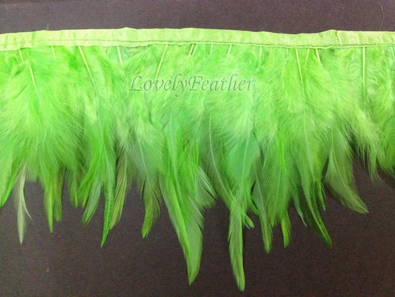 Hackle feather fringe of lime green color 2 yards trim