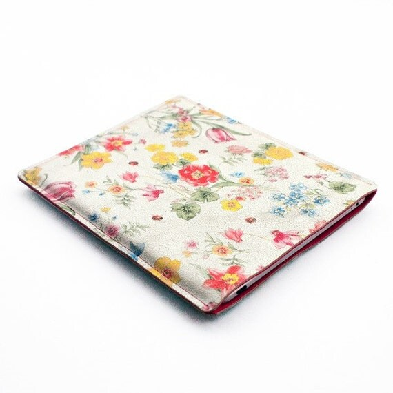 For KIM- iPad sleeve and iPhone sleeve- white flower leather and bright pink felt - DUTCH DESIGN-