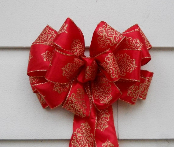 Red and Gold Christmas Bow for Lamp Post, Mail Box, or Mantle Garland