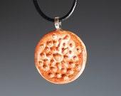 Textured Ceramic Pendant in Shino Glaze / Handemade Jewelry / Stoneware Clay Pendant / Jewelry Supplies / Necklace