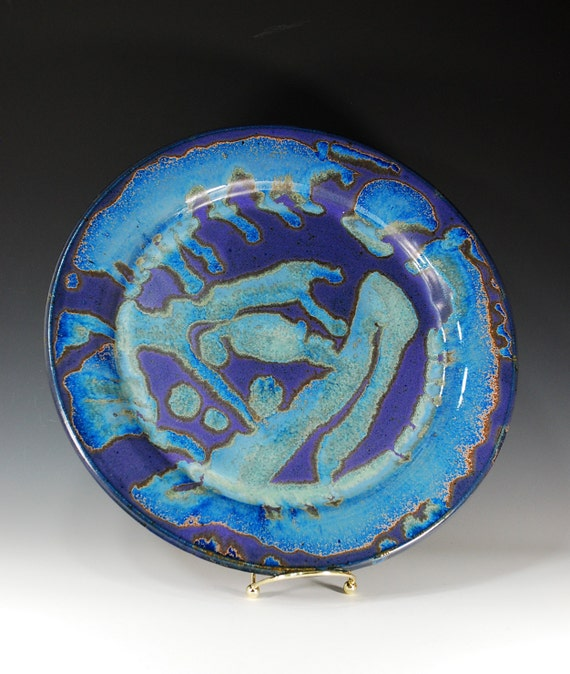 Large Platter in Purple Rain Glaze / Plate / Serving / Dinnerware / Wheel Thrown Pottery in Stoneware Clay