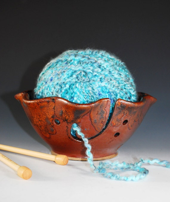 Yarn Bowl / Knitting Bowl with Fluted Rim in Copper Lava Glaze / FREE Ceramic Button Mother's Day Special - Wheel Thrown Stoneware Clay