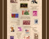 Dads Fathers Collectible US Stamps Artwork Great  Appreciation Gift