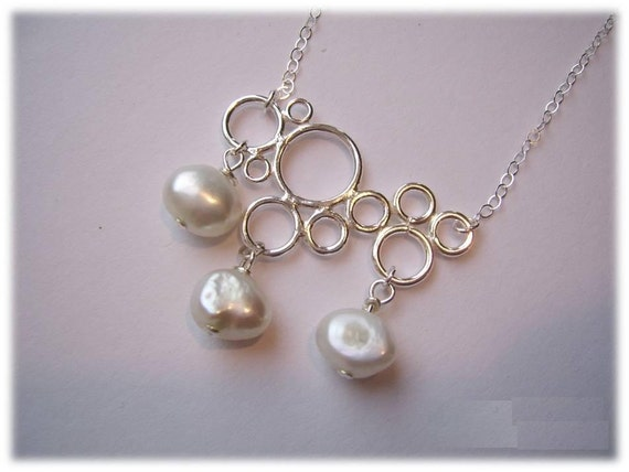 SALE - FREE SHIPPING Cloud necklace, sterling silver