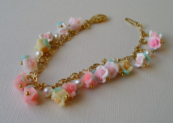 Shades of pink, yellow and white  bracelet