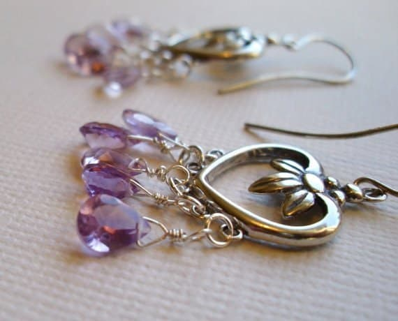 Lilac amethyst briolettes, sterling silver earrings