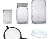 Kefir / Kombucha Fermenting Jar KIT - 3 Jars - Plastic Strainer - Elastic Lid
