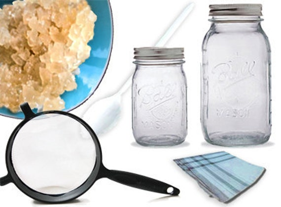 BASIC Live Water Kefir Grains KIT- Strainers, Jars, Recipes, PICTURE Guide