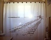 Train Shower Curtain Bathroom Decor Kids bath Train Tracks car railroad railway rail choo choo unique