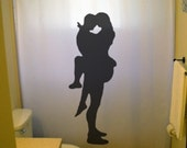 Sexy Lovers Shower Curtain Bathroom Decor Bath Romantic Embrace Romance Pin Up Girl Guy Man Woman Male Female Nude Naked Silhouette design