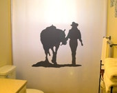Cowgirl Shower Curtain Horse Western theme bathroom decor kids bath hat boots female cowboy