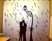 Rain Lovers Romantic Shower Curtain Love Romance Couple Bathroom Decor Kids bath Lamp Post raining valentine's day