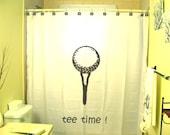 Tee Time Golf Shower Curtain Golfing Bathroom Decor Kids Men Bath Ball player swing club putt hole sport golfer