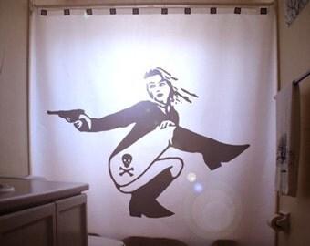 Dangerous Pinup Girl Shower Curtain Sexy Bathroom Decor Bath Woman Gun Skull Crossbones Danger Tattoo Secret Agent