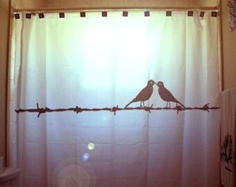 Love Birds Shower Curtain Barbed Wire Bathroom Decor Kids Bath barb unique gift simple minimalism design calm classic silhouette not busy