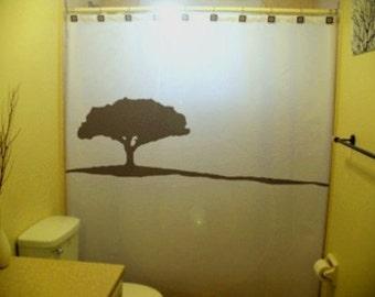 Lonely Tree Shower Curtain bathroom kids bath decor lone alone trees on a hill acacia