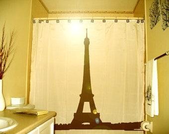 Eiffel Tower Shower Curtain Paris France bathroom decor kids bath La Tour Gustave Eiffel Champ de Mars iron lattice unique