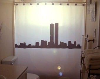 ny new york shower curtain bathroom world trade center twin towers 911 bath decor