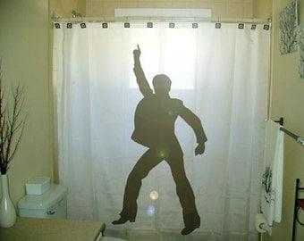 Man Dance Disco Shower Curtain retro bathroom decor kids bath dancing 70s 80s music