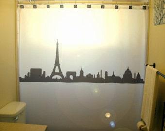 Cityscape Paris Shower Curtain Eiffel Tower champ elysees de mars arc de triomphe place de la concorde france skyline bathroom decor bath
