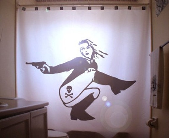 Dangerous Pinup Girl Shower Curtain Sexy Bathroom Decor Bath Woman Gun  Skull Crossbones Danger Tattoo Secret - Pinup Shower Curtain Etsy